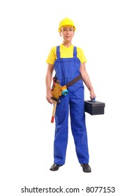 Service woman in blue overall  and yellow helmet wearing leather toolbelt with tools, holding black toolbox over white