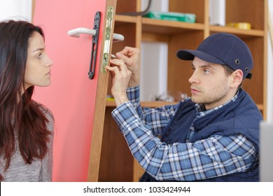 service worker helping young housewife