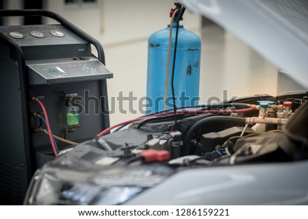 Servicing Car Air Conditioner Service Station Stock Photo