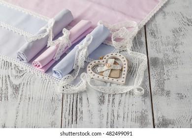 Serving background with napkins. Shabby chic style table