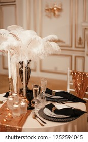Serving a Banquet table in black and gold color. Wedding decor