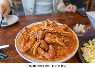 Serving of Chili Crab, One of the signature dish of Singapore