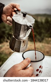 serving coffee in the nature