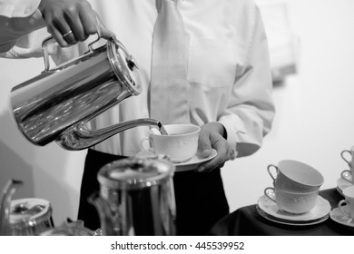 Serving coffee and tea at wedding