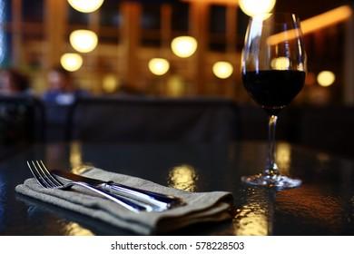serving cutlery knife fork restaurant tablecloth