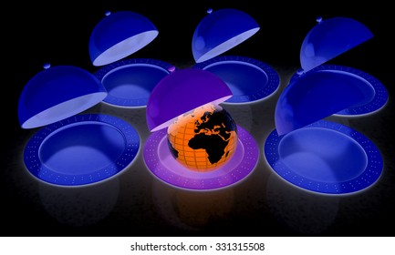 Serving dome or Cloche and Earth