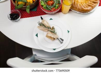 Serving table for dinner.