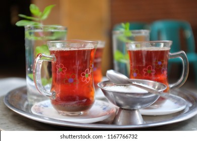 Serving tea with mint in Khan Al Khalili street in Cairo - Egypt