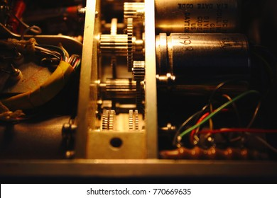 Servo motor and gear in electronics circuit of ADF receiver , Receiver of Avionics System ,Navigation system ,Avionics equipment with maintenance.