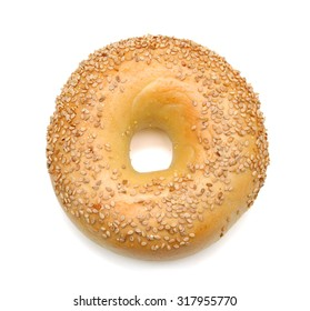 sesame bagel isolated on white