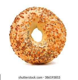 sesame bagel on white background