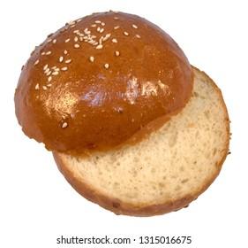 Sesame bun hamburger sliced white isolated on white background