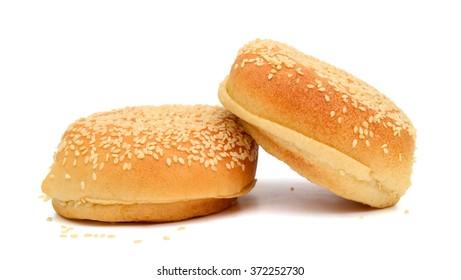 sesame buns on white background
