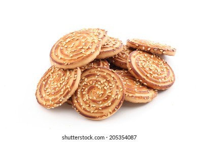 Sesame cookies on a white background