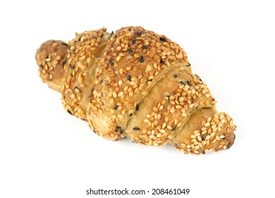 Sesame croissant Isolated on the white background