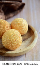Sesame seed balls or Onde-onde. Indonesian traditional street food. glutinous rice flour stuffed with mung bean paste coated with sesame seeds