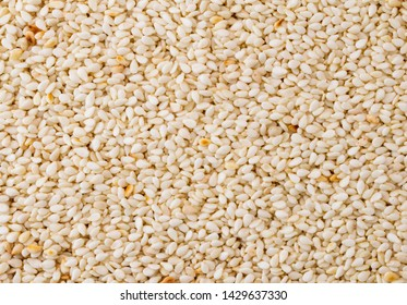 Sesame seeds, background. The view of the top.