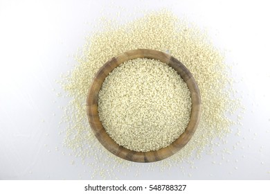 Sesame Seeds in a Bowl and Scattered