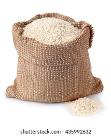 sesame seeds in burlap sack isolated on white background. Full burlap bag with sesame seeds. Sesame seeds