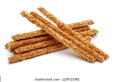 Sesame stick crackers isolated on white background