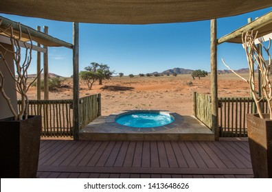 Sesriem, Namibia - November 10, 2018 Typical lodge in Namibia. Room with savannah view and whirlpool