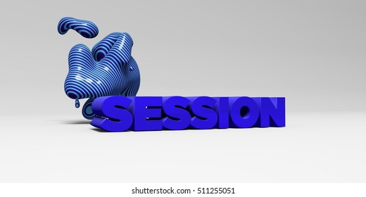 SESSION -  color type on white studiobackground with design element - 3D rendered royalty free stock picture. This image can be used for an online website banner ad or a print postcard.