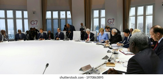 The session on Biodiversity, Oceans, Climate, at the G7 Summit, in Biarritz, France on August 26, 2019.