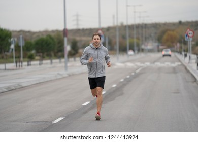 session running in the street of city