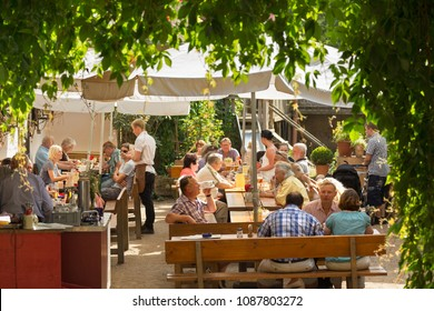 SESSLACH / GERMANY - JULY 14th, 2014: Bavarian Beer Garden
