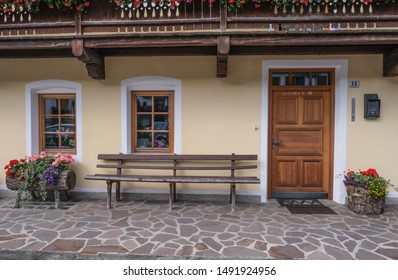 Sesto village, Trentino-Alto-Adige, Dolomites, Italy-August 15, 2019: Fine details of a traditional local village house,  located at the foot of the Italian-Austrian border