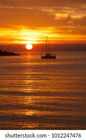Sestri Levante (GE), Italy - June 01, 2017: A beautiful sunset, Sestri Levante, Genova, Liguria, Italy