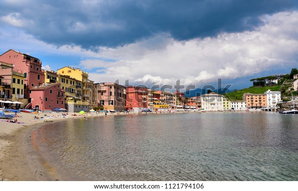 SESTRI LEVANTE, GENOA, ITALY - MAY 21 - The Bay of Silence is a charming place framed by very colorful houses. This town has many attractions to offer tourists May 21 2018 Sestri Levante, Genoa Italy