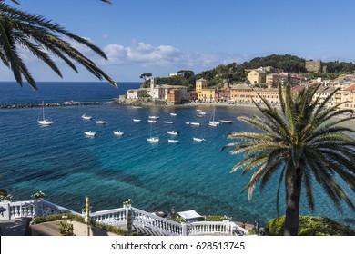 Sestri Levante, Italy. April 22, 2017. A panoramic view of Silence bay.
