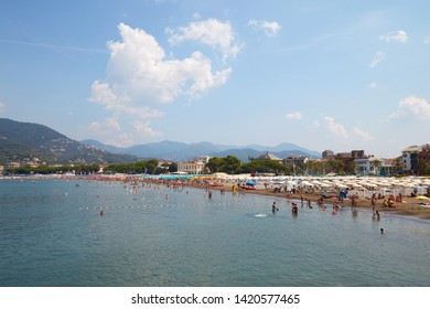 SESTRI LEVANTE, ITALY - AUGUST 23, 2018: Sestri Levante coast, seaside with people in a sunny summer day in Italy