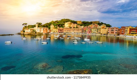 Sestri Levante - Paradise Bay of Silence with its boats and its lovely beach. Beautiful coast at Province of Genoa in Liguria, Italy - Europe.