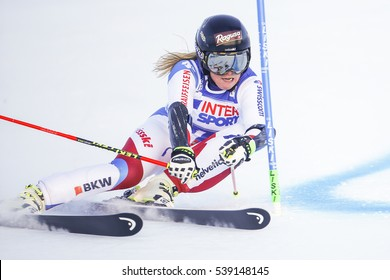 Sestriere, Italy - December 10, 2016: Lara Gut (SUI) in action during the FIS World Cup - Ladies' Giant Slalom held in   SESTRIERE.