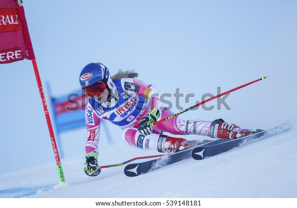 Sestriere, Italy - December 10, 2016: Mikaela SHIFFRIN (USA) in action during the FIS World Cup - Ladies' Giant Slalom held in   SESTRIERE.