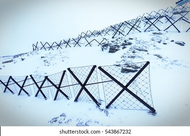 Sestriere, Italy - february 23, 2016: barriers anti avalanche