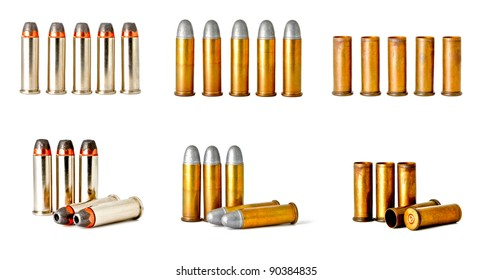 set of 0.38 revolver handgun bullets isolated on white background, studio shot