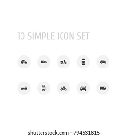 Set Of 10 Shipping Icons Set.Collection Of Side View, Lorry, Streetcar And Other Elements.