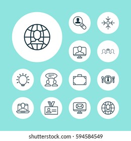 Set Of 12 Business Management Icons. Includes Business Aim, Open Vacancy, Dinner And Other Symbols. Beautiful Design Elements.