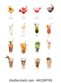 Set of 12 coctails isolated on a white background