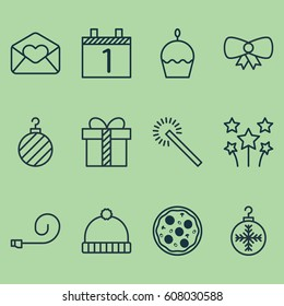 Set Of 12 New Year Icons. Includes Butterfly Knot, Agenda, Greeting Email And Other Symbols. Beautiful Design Elements.