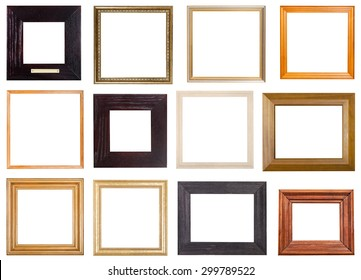 set of 12 pcs square wooden picture frames with cut out blank space isolated on white background