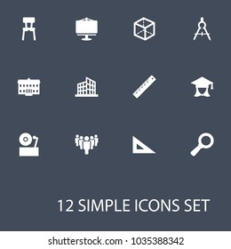 Set of 12 science icons set. Collection of dividers measurement, group, ruler and other elements.