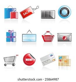 Set of 12 simple shopping web icons isolated on white