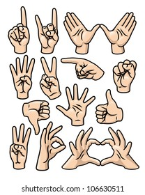 A set of 15 different cartoon hands in various poses. Raster.