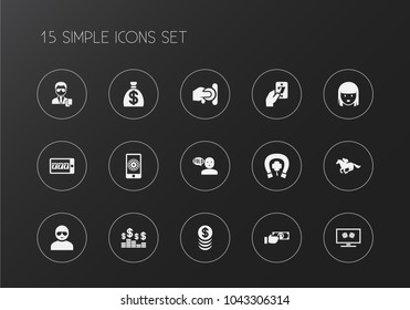 Set of 15 editable business icons. Includes symbols such as greenback, security, man in glasses and more. Can be used for web, mobile, UI and infographic design.