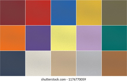 Set of 15 fashionable trend and classic palette Pantone colors of autumn-winter 2018-2019 season: ultra violet, red, blue, yellow, orange, green, lime, gray, creamy and other. Porous rubber texture