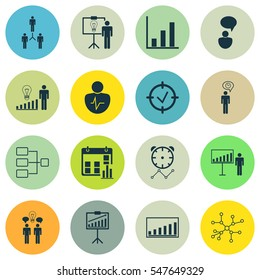 Set Of 16 Administration Icons. Includes Company Statistics, Decision Making, Reminder And Other Symbols. Beautiful Design Elements.